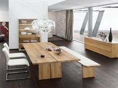 Impressive Modern Wooden Dining Tables with Benches also White Chairs with Stenless Legs Design Idea