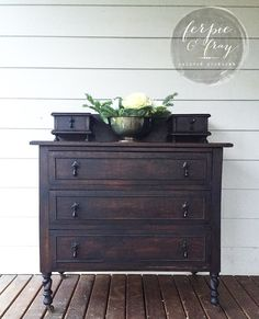 Dresser painted in General Finishes Lamp Black wash by Amanda of Ferpie and…