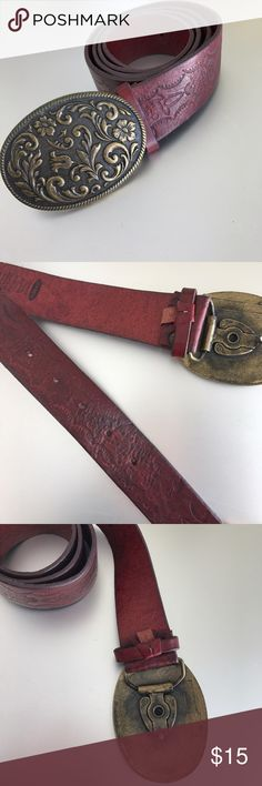 "Red Leather Belt Genuine leather belt in dark red with metal buckle featuring scrolled floral design. Band is approx 2"" thick and 36"" long. Excellent condition. Accessories Belts"