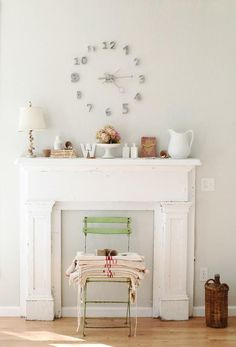 faux fireplace- I love this and would add a mirror and lots of candles for the 'fire'