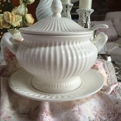 A personal favorite from my Etsy shop https://www.etsy.com/listing/258254781/very-large-soup-tureen-ironstone-white