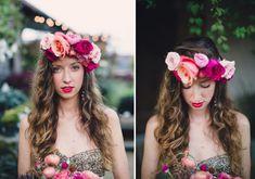 Bohemian-Lana-Del-Rey-Frida-Kahlo-Floral-Hair-Crown-Summer-Gold-Pink-Coral-Rose-Succulent-Rananculus-Bouquet-Rustic-Wedding-BHLDN-Anthropologie-Gold-Dress-Terrain-Styers-PA-Oleander-Bucks-County-PA-Philadelphia-Wedding-Florist-Floral-Design-Event