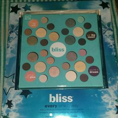 "NIB BLISS EYESHADOW PALLETTE Four different sections of eyeshadows such as ""let it glow "", etc. Huge selection of beautiful colors. Brand new. Bliss Makeup Eyeshadow"
