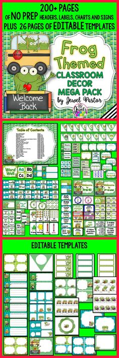 Frog Theme Classroom Decor ❤ Frog Classroom Decor by Jewel Pastor | Welcome your students to a frog-tastic classroom with this Frog Themed Classroom Decor Mega Pack. It comes with 200+ pages of NO PREP HEADERS, LABELS, CHARTS AND SIGNS plus 26 pages of EDITABLE PARTS/TEMPLATES. Included is a PowerPoint file with blank templates. You can easily insert a text box and type in the text you want or need. | Frog Theme | Bulletin Boards | Back to School