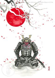 Japanese Art Samurai, Japanese Warrior, Japanese Tattoo Art, Samurai Drawing, Samurai Artwork, Samurai Warrior Tattoo, Warrior Tattoos, Art And Illustration, Illustrations Posters
