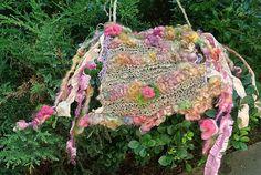 handknit rustic hemp art yarn boho shoulder bag  by beautifulplace