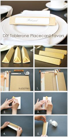 DIY Toblerone Placecard Favors http://weddingideasbyyou.com/2014/02/18/diy-toblerone-placecard-favors/