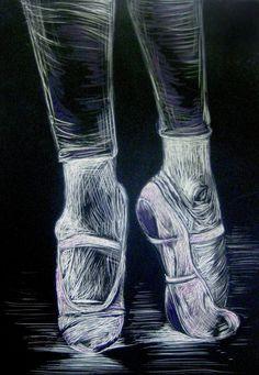 5x7 Scratchboard Ballet slipper art by IlCigno on Etsy, $15.00