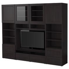 BESTÅ Agencement meuble télé - brun-noir, 240x40x192 cm - IKEA  pour ne plus voir les affreux fils et avoir du rangement pour les enfants