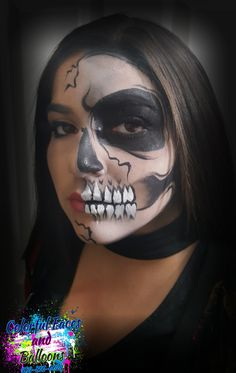 skull face painting, scary faces, face painting, Colorful faces and balloons, skeleton face. Scary Face Paint, Skeleton Face Paint, Balloon Painting, Halloween Costumes, Halloween Face Makeup, Scary Faces, Skull Face, Step By Step Painting, Balloons