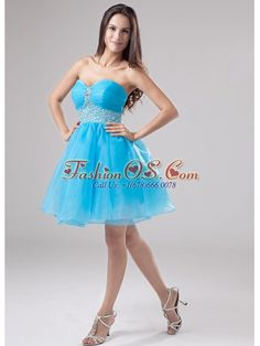 A-Line Beading Organza Sweetheart Mini-length Prom Dress Baby Blue- http://www.fashionos.com   sleeveless prom dress | prom dress for wholesale | a line prom dress | prom dress under 150 | prom dresses gowns | organza fabric prom dress | mini length cocktail dress | sweetheart sleeveless prom dress | 2014 brand new prom dress | prom dresses for fashionable girls |