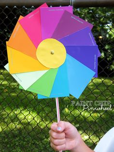 DIY Projects Made With Paint Chips - Paint Chip Pinwheels - Best Creative Crafts, Easy DYI Projects You Can Make With Paint Chips - Cool Paint Chip Crafts and Project Tutorials - Crafty DIY Home Decor Ideas That Make Awesome DIY Gifts and Christmas Presents for Friends and Family http://diyjoy.com/diy-projects-paint-chips