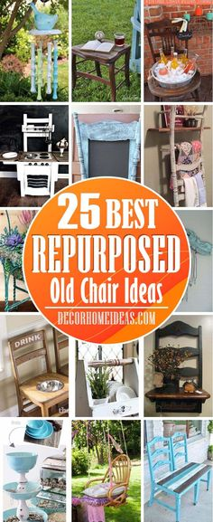 Repurposed Old Chairs. Get some fresh and creative ideas on repurposing old chairs into something beautiful and useful. #old #chair #repurposed #decorhomeideas