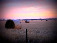 Hay bales at sunset.  What can I say,  I love the boonies. <3