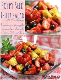 Poppy Seed Fruit Salad with Citrus Honey Glaze - Great for brunch or as a dish to pass!