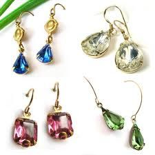 vintage glass jewel earrings