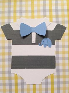 25 Baby Shower Boys Onesie Invitation - 25 Baby Blue Bow and Baby Elephant, striped onesie with bow - new invitations - onesie - unique