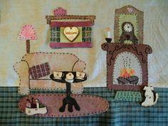 le salon du Quilthaus - Catapuce et cie... Applique Quilt Patterns, Hand Applique, Felt Applique, Embroidery Applique, Fabric Art, Fabric Crafts, Dollhouse Quilt, House Quilts, Quilted Pillow
