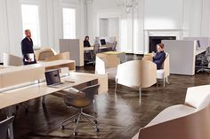 Collaborative workstyles enabled by technology exist here alongside the private office and the formal boardroom.