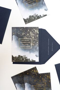 Celestial-inspired save-the-date with gold foiling