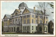 Vintage postcard of the Court House in St. Thomas, Ontario, Canada.