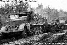 Besides the usage as towing vehicle for heavy artillery guns the s. Zgkw. 12t was used as tank recovery vehicle, too. This s. Zgkw. 12t was towing an Sd. Ah. 116 four-axle flat bed trailer.