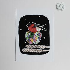 Print Domherre via make it happy. Click on the image to see more!  Julpyssel; juletiketter; domherre; illustration; jul; kort; julkort
