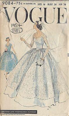 Wedding Dress Patterns, Vintage Dress Patterns, Vintage Dresses, 50s Dresses, Patron Vintage, Retro, Do It Yourself Fashion, Gown Pattern, Vogue Sewing Patterns