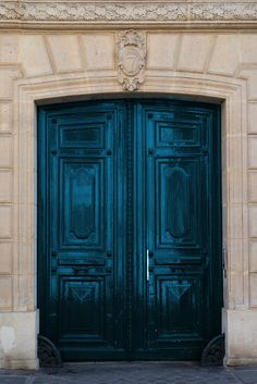 Teal Blue Door, French Fine Art Photograph