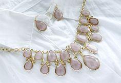 Fashion Jewelry Statement Soft Pink Gold Plated Gem Stone Bib Necklace(Set) #TwinkleJewel #CharmStatementNecklace