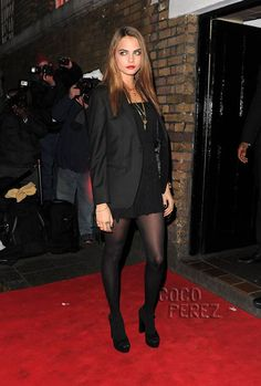 Socks & Sandals? Cara Delevingne thinks Yes! in black tight and black platform peep-toe sandals