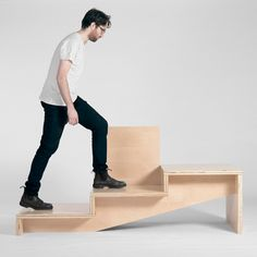 Canadian designer Geof Ramsay has used the notion of staircases that double as seating areas to create a wooden bench from a set of steps.