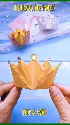 Cool Paper Crafts, Paper Crafts Origami, Origami Easy, Diy Paper, Fun Crafts, Crafts For Kids, Oragami, Origami Crown, Diy Crafts Hacks