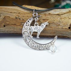 Wolf Moon Necklace with Clear Quartz  by LunaCelesteAustralia