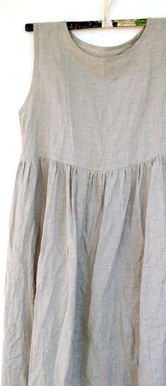 Linen gather dress