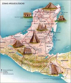 Mayan architecture is the subject of this Yucatan map.