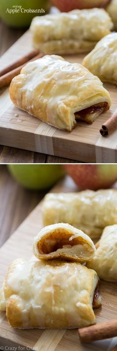 Easy Apple Croissants with apple cider glaze - fast and easy and delicious!