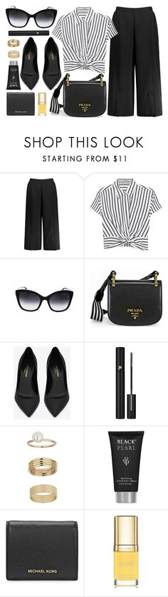 """Impress"" by smartbuyglasses-uk ❤ liked on Polyvore featuring T By Alexander Wang, Dolce&Gabbana, Prada, Yves Saint Laurent, Lancôme, Miss Selfridge, Michael Kors, white and black"