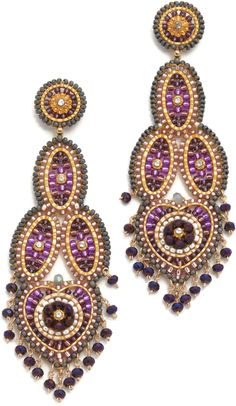 stunning purple and gold drop earrings Gold Drop Earrings, Bead Earrings, Pearl Beads, Beaded Jewelry, Jewelry Accessories, Beadwork, Beading, Jewelry Making, Bead Patterns