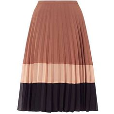 Colour Block Pleat Skirt ($80) ❤ liked on Polyvore featuring skirts, bottoms, knee length pleated skirt, block print skirts, pleated skirt, brown skirt and color block pleated skirt