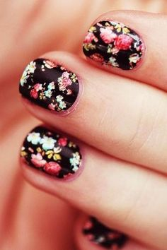 DIY floral nail art makes for one very romantic fall.