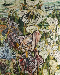 John Bratby White and Mauve Butterfly Irises 1966 (still life quick heart) John Bratby, Blue Rider, Still Life Artists, Still Life Fruit, English Artists, Galerie D'art, A Level Art, Pictures To Draw, Flower Art