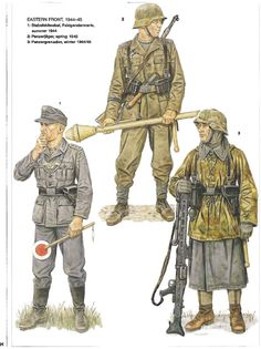 German soldiers on the eastern front 1944 - 1945 Military Insignia, Military Art, Military History, Ww2 Uniforms, German Uniforms, Military Uniforms, German Soldiers Ww2, German Army, Eastern Front Ww2