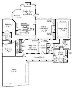 Country Style House Plan - 3 Beds 2.50 Baths 2395 Sq/Ft Plan #927-129 Floor Plan - Main Floor Plan