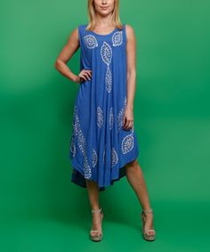 Look what I found on #zulily! Highness NYC Royal Blue & White Leaf Motif Sleeveless Dress by Highness NYC #zulilyfinds