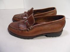 Cole Haan Women's Brown Shoes Leather Slip On Kilted Loafers HANDSEWN!-9.5 B #ColeHaan #LoafersMoccasins