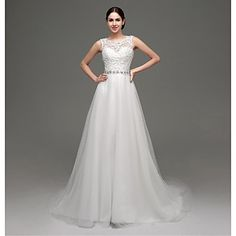 A-line+Wedding+Dress+-+Chic+&+Modern+/+Glamorous+&+Dramatic+Lacy+Looks+/+See-Through+Wedding+Dresses+Court+Train+Jewel+Lace+/+Tulle+with+–+USD+$+99.99