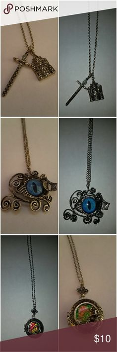 Lot of 5 Fantasy Themed Jewelry Lot of 5 Fantasy Themed Jewelry from Hot Topic. Castle & Sword Necklace Dragon Eye Necklace Mermaid Necklace Dragon Earrings Dragon Necklace Jewelry