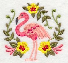 Flamingo and Tropical Circle design (M4687) from www.Emblibrary.com