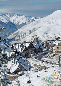 Baqueira-Beret ski resort in Val d'Aran (Lleida Pyrenees), Catalonia. Spain.